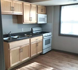 kitchen cabinets, stove and microwave